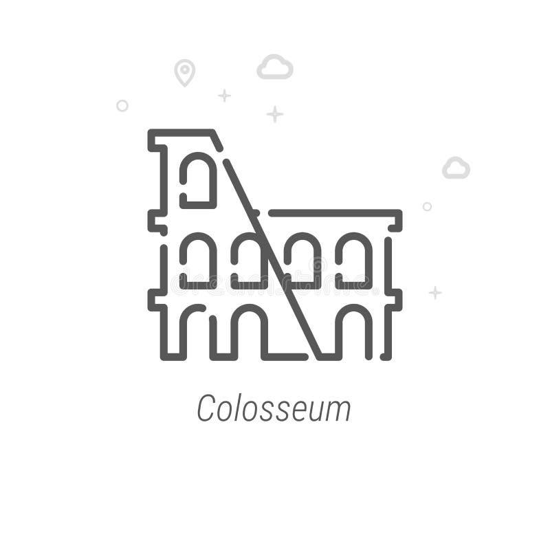 Ligne icône, symbole, pictogramme, signe de vecteur de Colosseum, Rome, Italie Fond géométrique abstrait clair Course Editable illustration stock