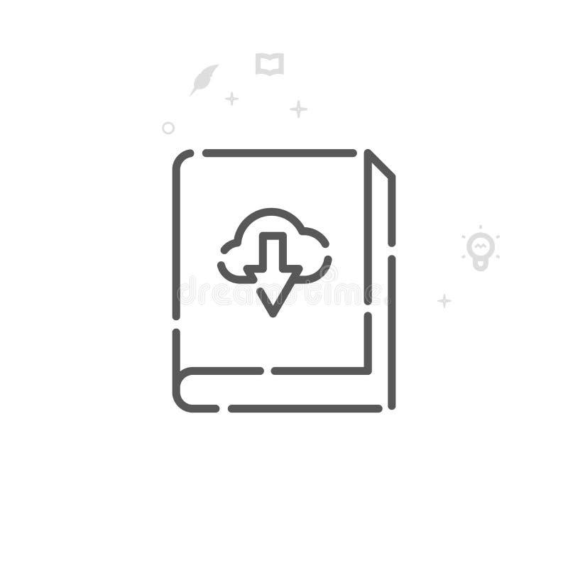 Ligne icône, symbole, pictogramme, signe de vecteur d'Ebook de téléchargement Fond géométrique abstrait clair Course Editable illustration stock