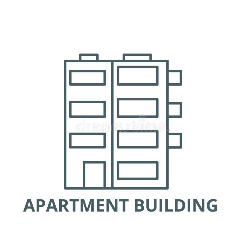 Ligne icône, vecteur d'immeuble Signe d'ensemble d'immeuble, symbole de concept, illustration plate illustration stock