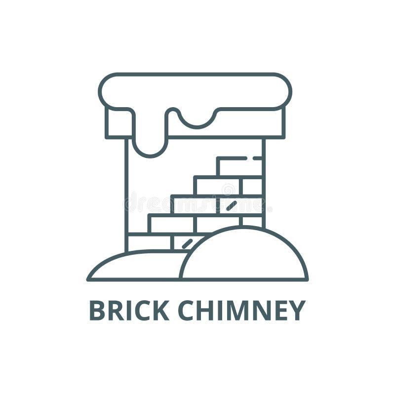 Ligne icône, vecteur de cheminée de brique Signe d'ensemble de cheminée de brique, symbole de concept, illustration plate illustration de vecteur