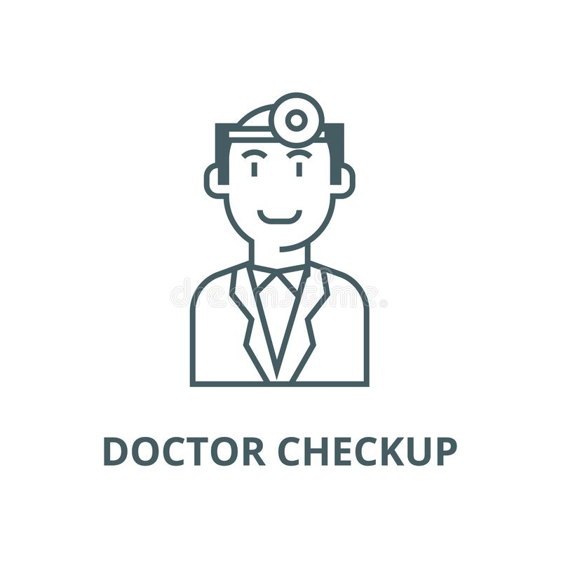 Ligne icône, vecteur de contrôle de docteur Signe d'ensemble de contrôle de docteur, symbole de concept, illustration plate illustration libre de droits