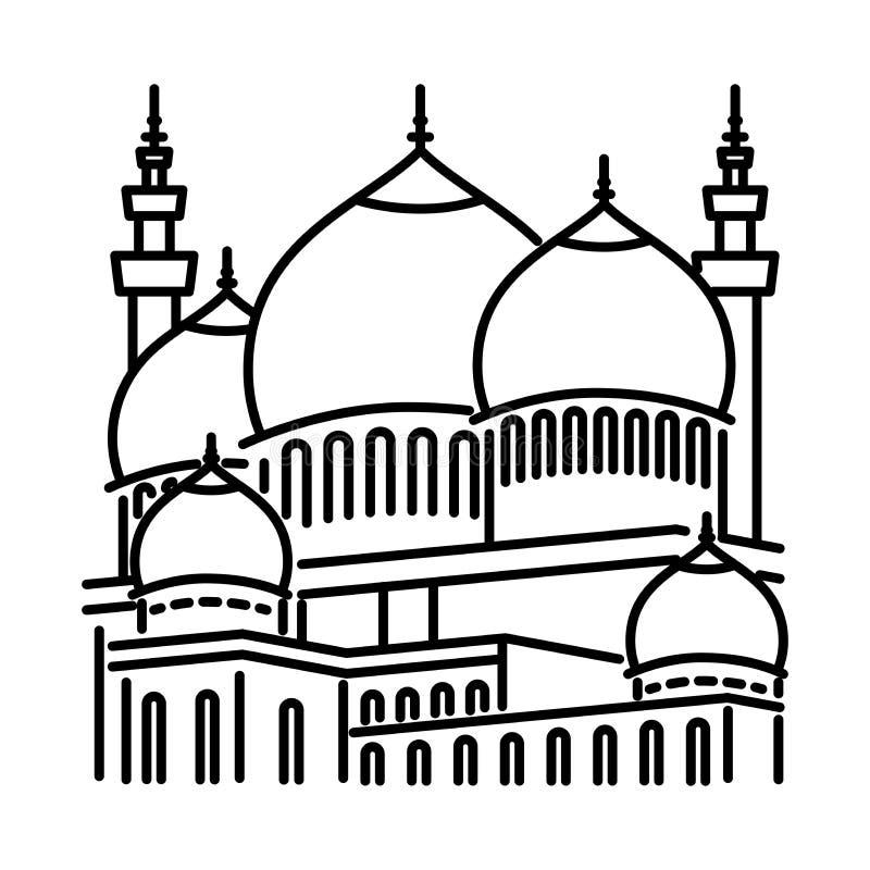 Ligne icône - vecteur de mosquée iconique illustration de vecteur
