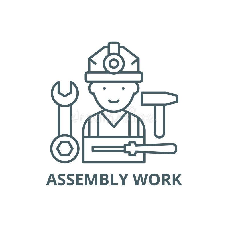 Ligne icône, vecteur de travail d'Assemblée Signe d'ensemble de travail d'Assemblée, symbole de concept, illustration plate illustration de vecteur