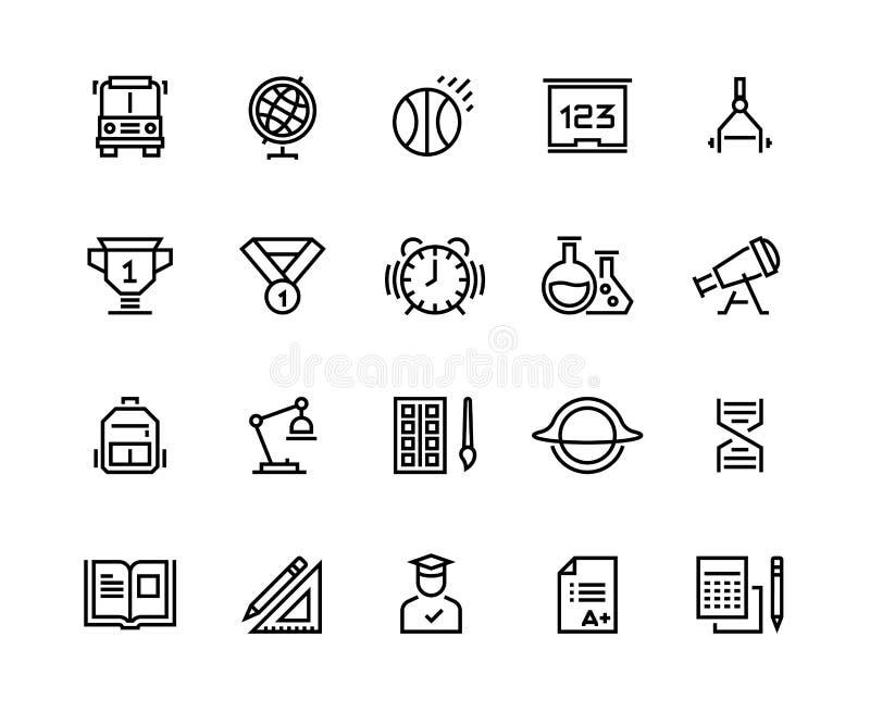 Ligne icônes d'école Disciplines d'école de chimie de physique de géographie de la géométrie Obtention du diplôme d'école et éduc illustration de vecteur