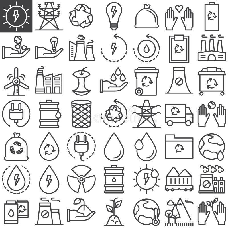 Ligne icônes d'écologie réglées illustration stock