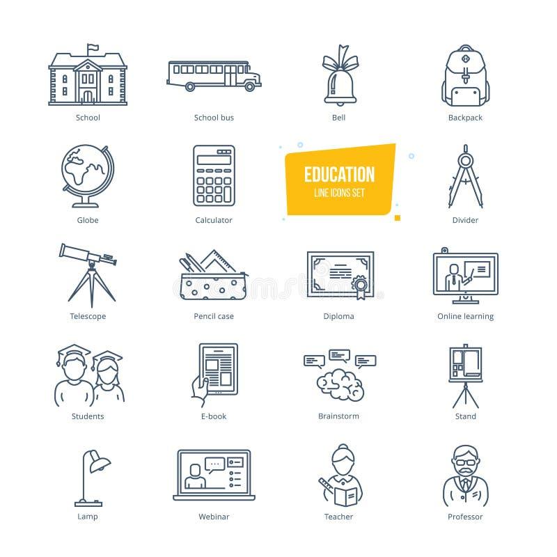 Ligne icônes d'éducation réglées Icônes pour l'éducation et l'étude en ligne illustration libre de droits