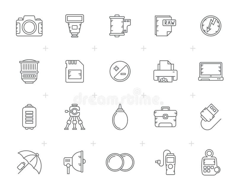 Ligne icônes d'équipement et de photographie d'appareil-photo illustration de vecteur