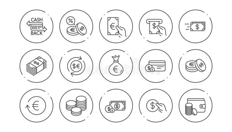 Ligne icônes d'argent et de paiement Argent liquide, portefeuille et pièces de monnaie Ensemble linéaire d'icône Vecteur illustration stock