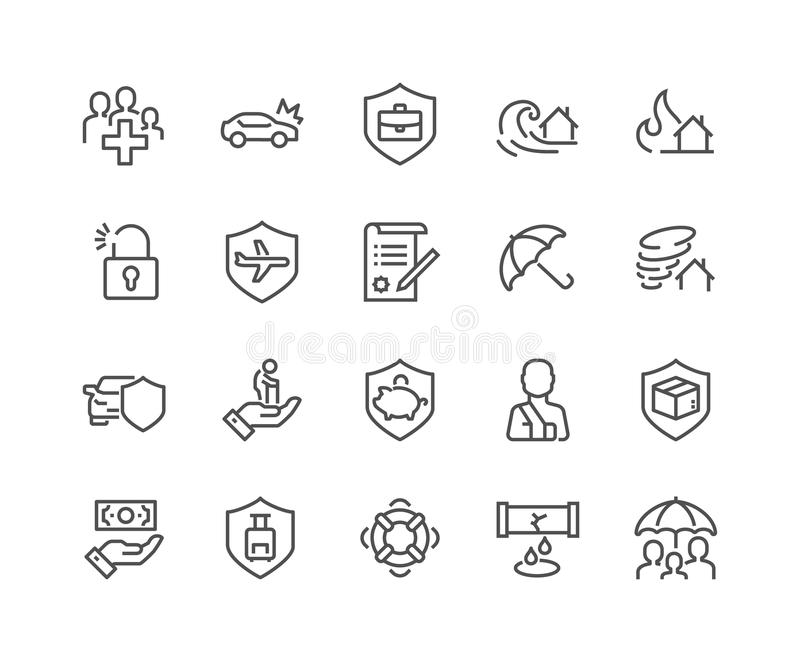 Ligne icônes d'assurance illustration stock