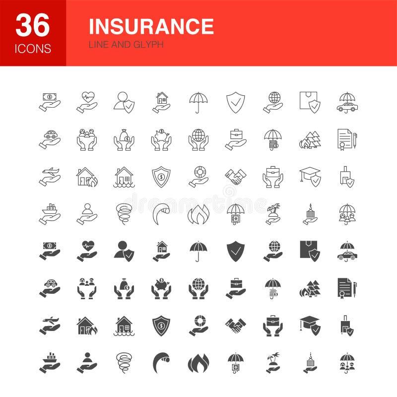 Ligne icônes d'assurance de Glyph de Web illustration libre de droits