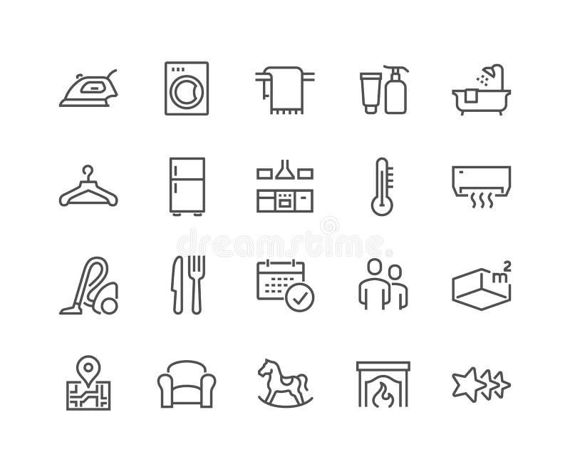 Ligne icônes d'hôtel illustration de vecteur
