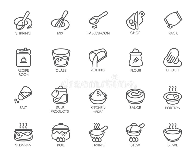 Ligne icônes d'isolement sur le thème de cuisine Labels d'ensemble pour faire cuire des projets, des appareils ménagers, des prod illustration stock
