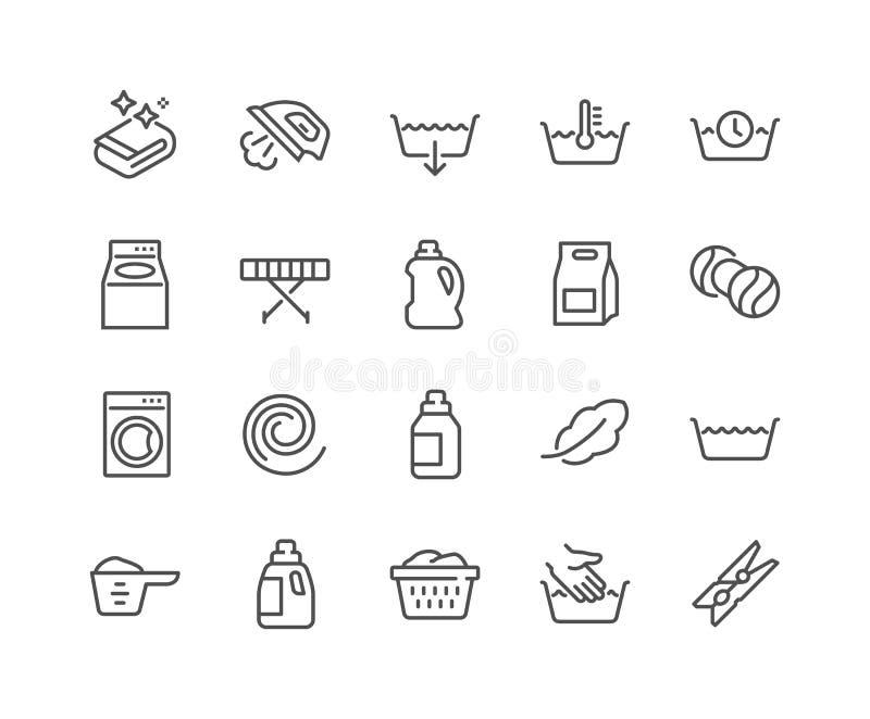 Ligne icônes de blanchisserie illustration libre de droits