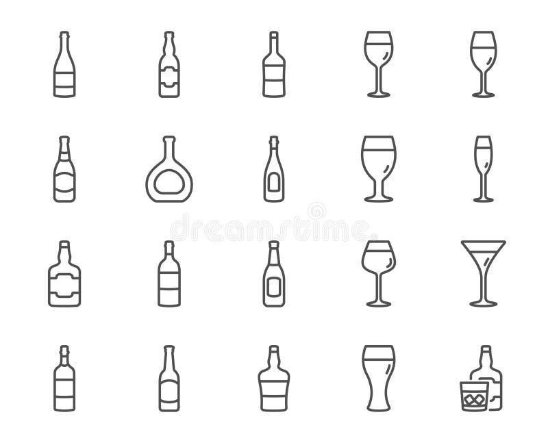 Ligne icônes de bouteilles de vin Ensemble de bière de métier, de verres de whiskey et de vin Vecteur illustration stock
