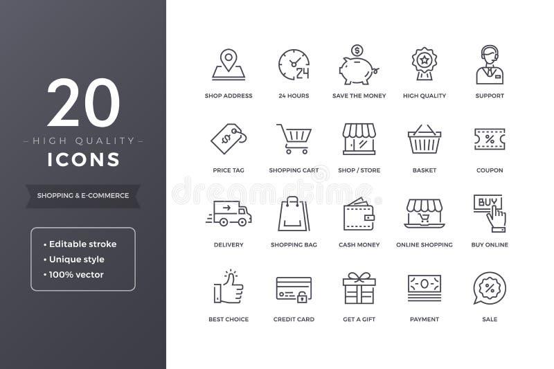 Ligne icônes de commerce électronique illustration stock