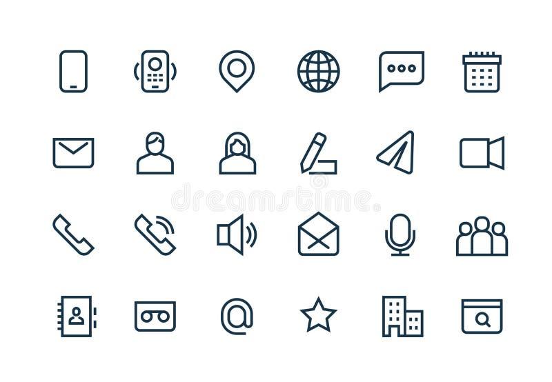 Ligne icônes de contact Courrier de site Web de téléphone, l'information personnelle d'affaires, adresse URL, emplacement de sièg illustration stock