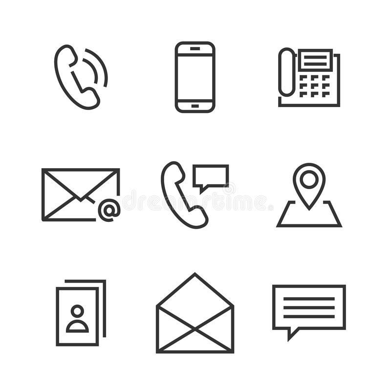 Ligne icônes de 9 contacts illustration libre de droits
