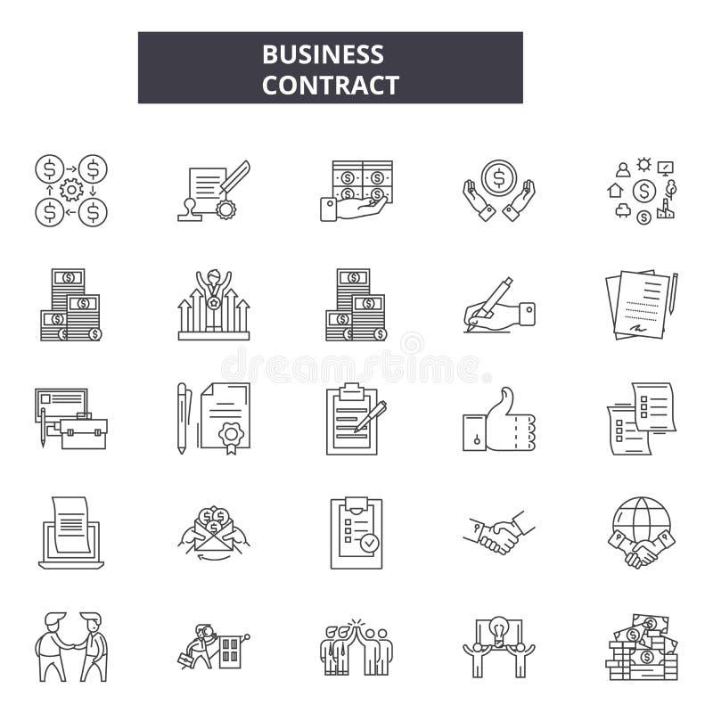 Ligne icônes de contrat d'affaires pour le Web et la conception mobile Signes Editable de course Concept d'ensemble de contrat d' illustration de vecteur