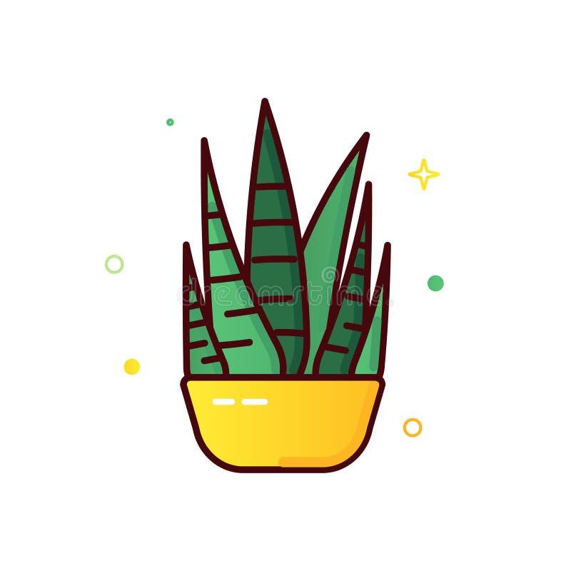 Ligne icônes de couleur de cactus illustration libre de droits
