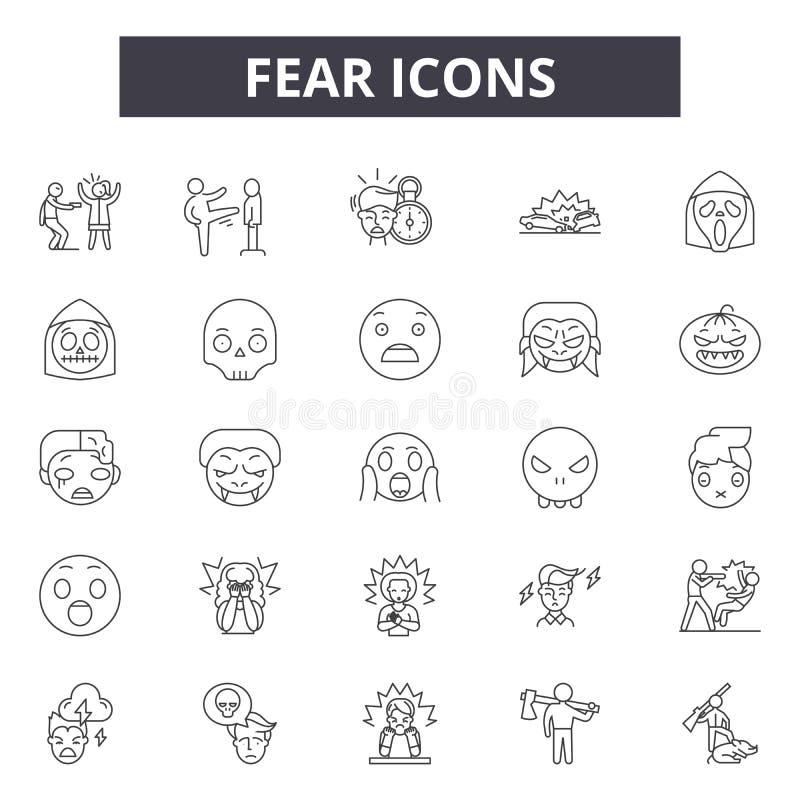 Ligne icônes de crainte pour le Web et la conception mobile Signes Editable de course Illustrations de concept d'ensemble de crai illustration stock