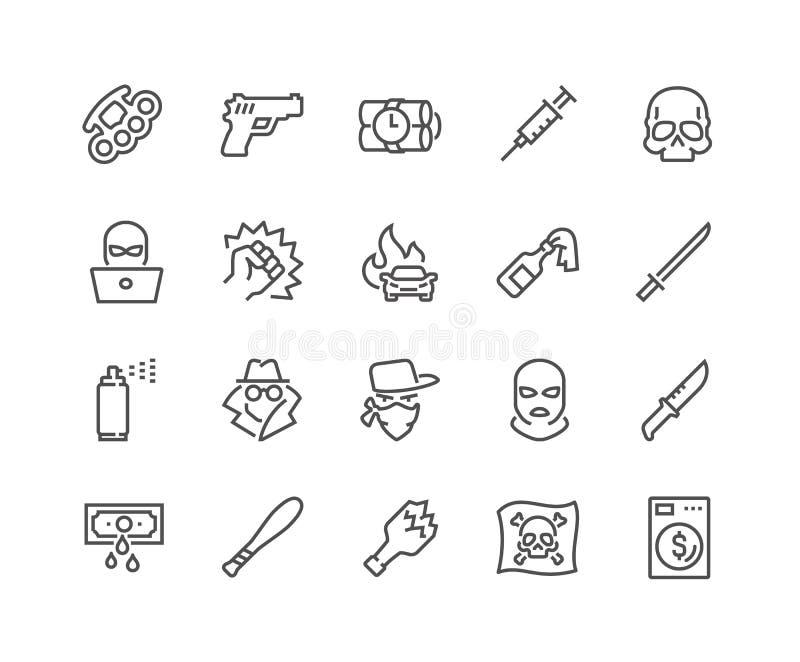 Ligne icônes de crime illustration libre de droits