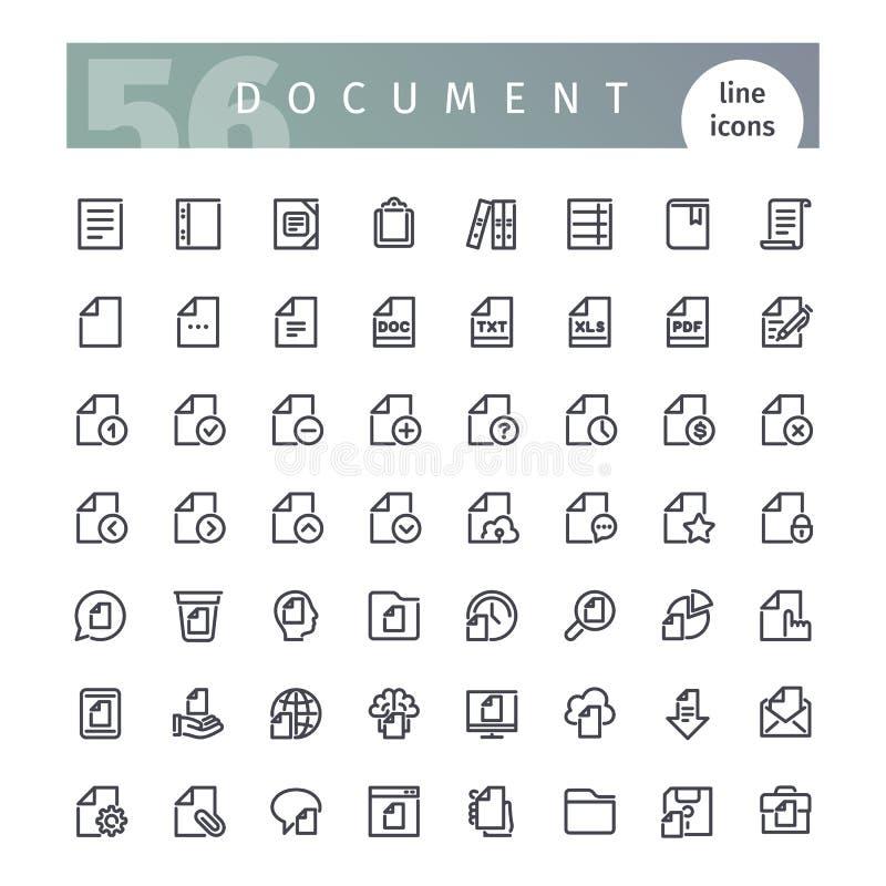 Ligne icônes de document réglées illustration stock