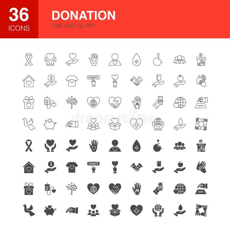Ligne icônes de donation de Glyph de Web illustration stock