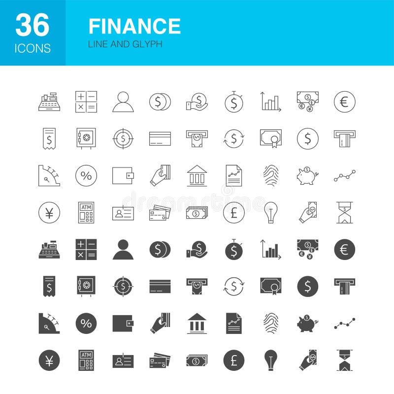 Ligne icônes de finances de Glyph de Web illustration de vecteur