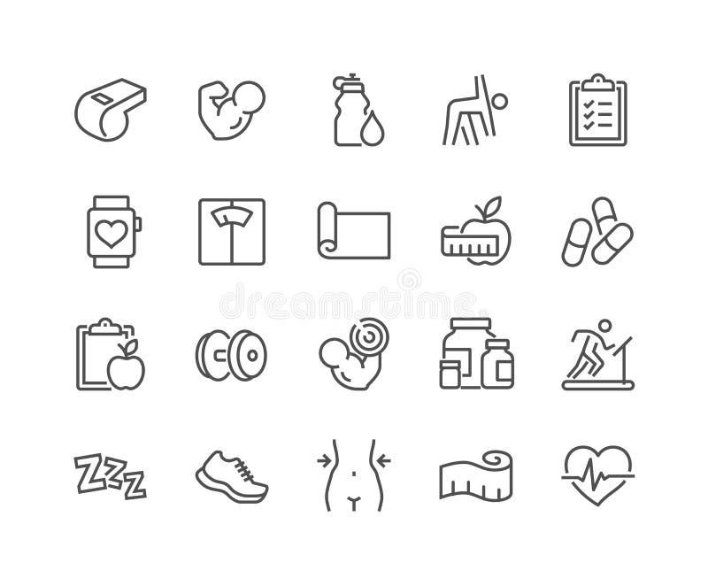 Ligne icônes de forme physique illustration de vecteur