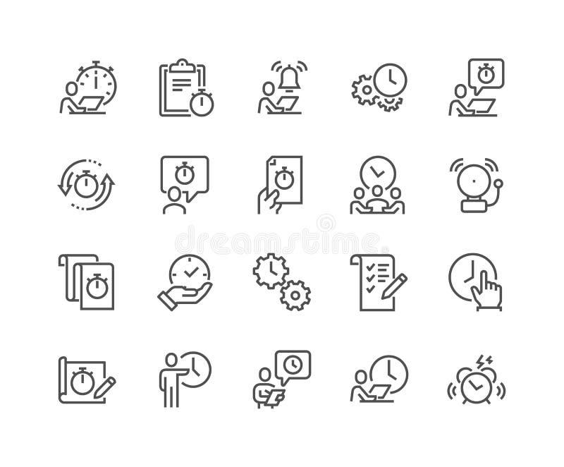 Ligne icônes de gestion du temps illustration libre de droits