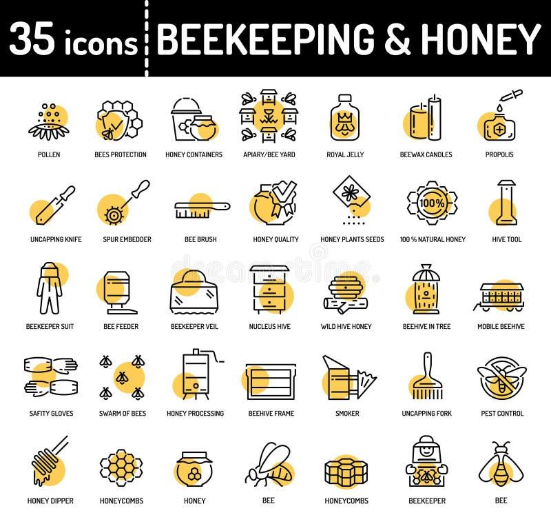 Ligne icônes de l'apiculture et d'apiculture de miel illustration de vecteur