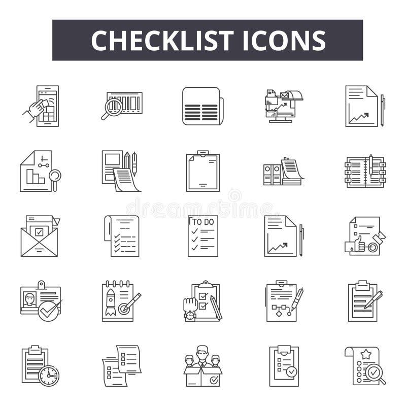 Ligne icônes de liste de contrôle pour le Web et la conception mobile Signes Editable de course Illustrations de concept d'ensemb illustration de vecteur