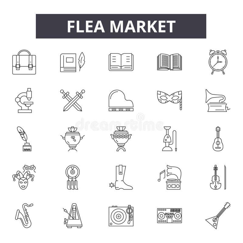 Ligne icônes de marché aux puces pour le Web et la conception mobile Signes Editable de course Illustrations de concept d'ensembl illustration libre de droits
