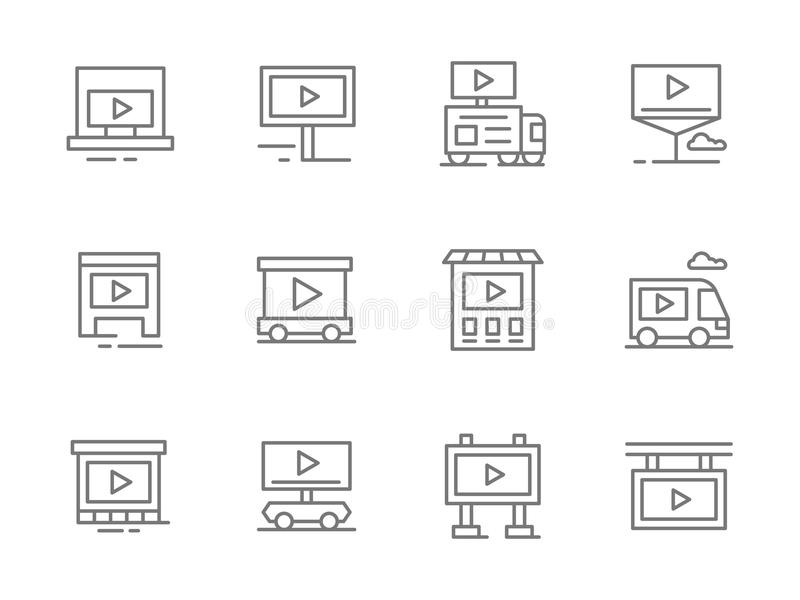 Ligne icônes de noir de campagne publicitaire réglées illustration stock