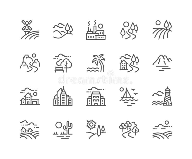 Ligne icônes de paysage illustration libre de droits