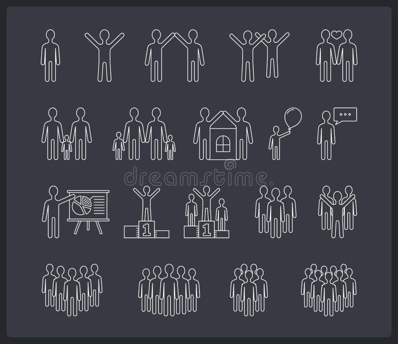 Ligne icônes de personnes illustration stock