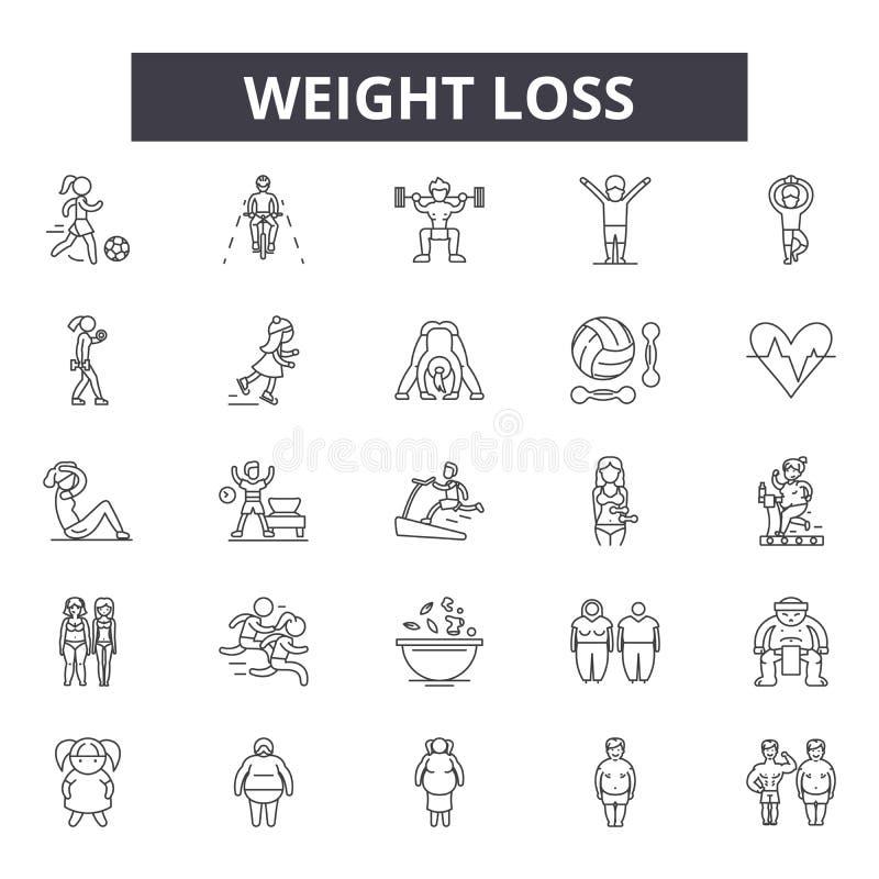 Ligne icônes de perte de poids pour le Web et la conception mobile Signes Editable de course Illustrations de concept d'ensemble  illustration libre de droits