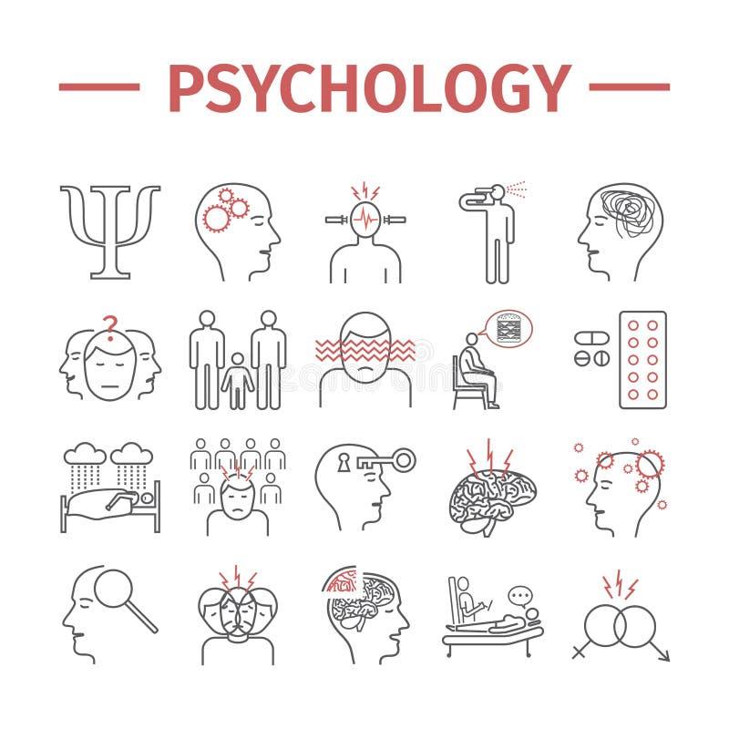 Ligne icônes de psychologie réglées Santé mentale Infographic Signes de vecteur pour des graphiques de Web illustration stock