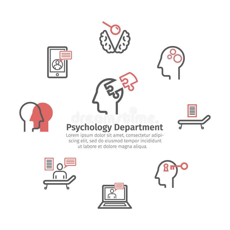 Ligne icônes de psychologue réglées Drapeau rond Signes conceptuels Illustration de vecteur illustration stock