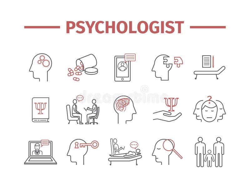 Ligne icônes de psychologue réglées infographics conceptuel Consultation de la psychologie Signe de vecteur pour des graphiques d illustration stock