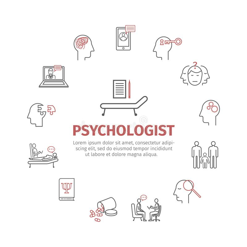 Ligne icônes de psychologue réglées infographics conceptuel Consultation de la psychologie Signe de vecteur pour des graphiques d illustration de vecteur