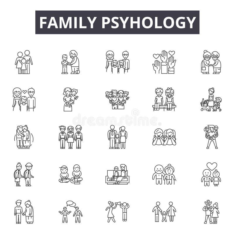 Ligne icônes de psyhology de famille pour le Web et la conception mobile Signes Editable de course Concept d'ensemble de psyholog illustration libre de droits