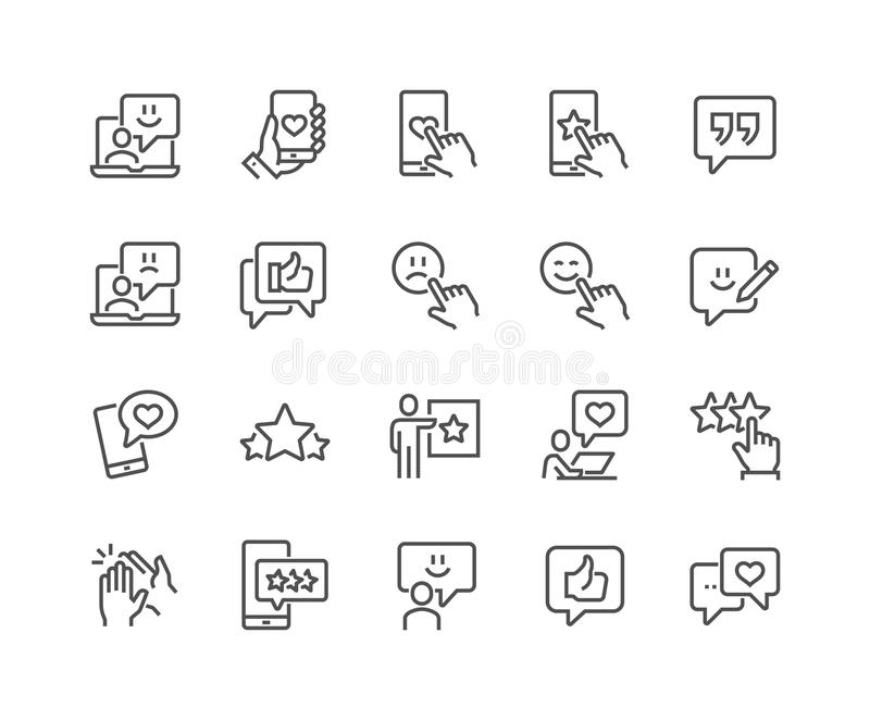 Ligne icônes de rétroaction illustration stock