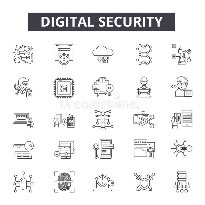 Ligne icônes de sécurité de Digital pour le Web et la conception mobile Signes Editable de course Concept d'ensemble de sécurité  illustration de vecteur