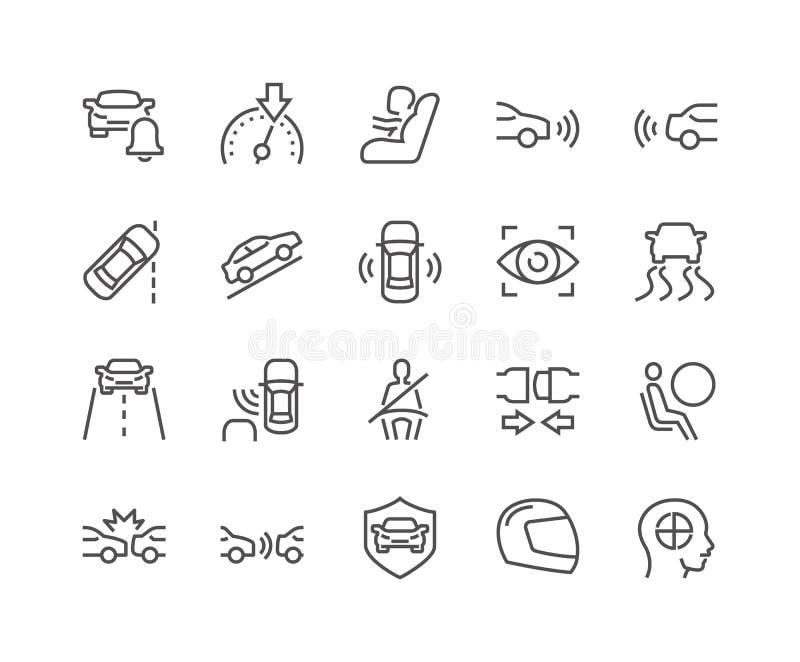 Ligne icônes de sécurité de voiture illustration stock