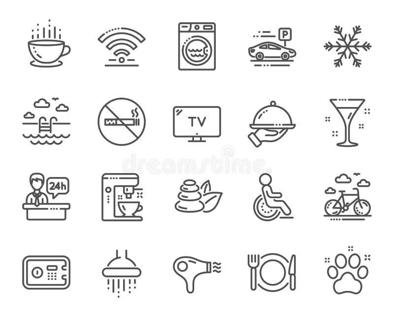 Ligne icônes de service hôtelier Machine de fabricant de Wi-Fi, de climatisation et de café Vecteur illustration libre de droits