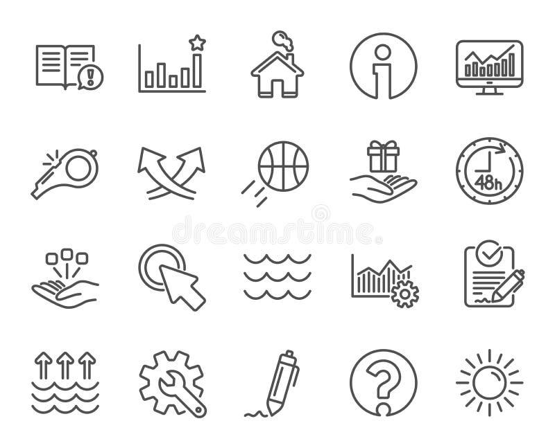 Ligne icônes de sifflement, de vagues et de Sun Signature, réchauffement global Vecteur illustration libre de droits