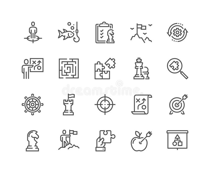 Ligne icônes de stratégie commerciale illustration libre de droits