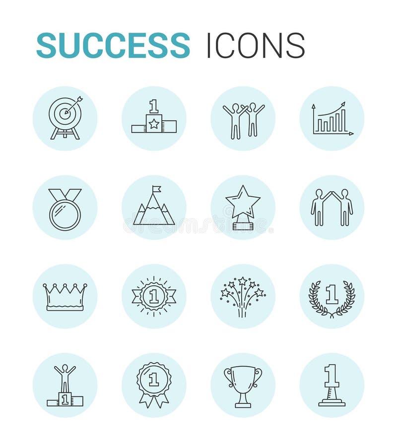 Ligne icônes de succès illustration stock