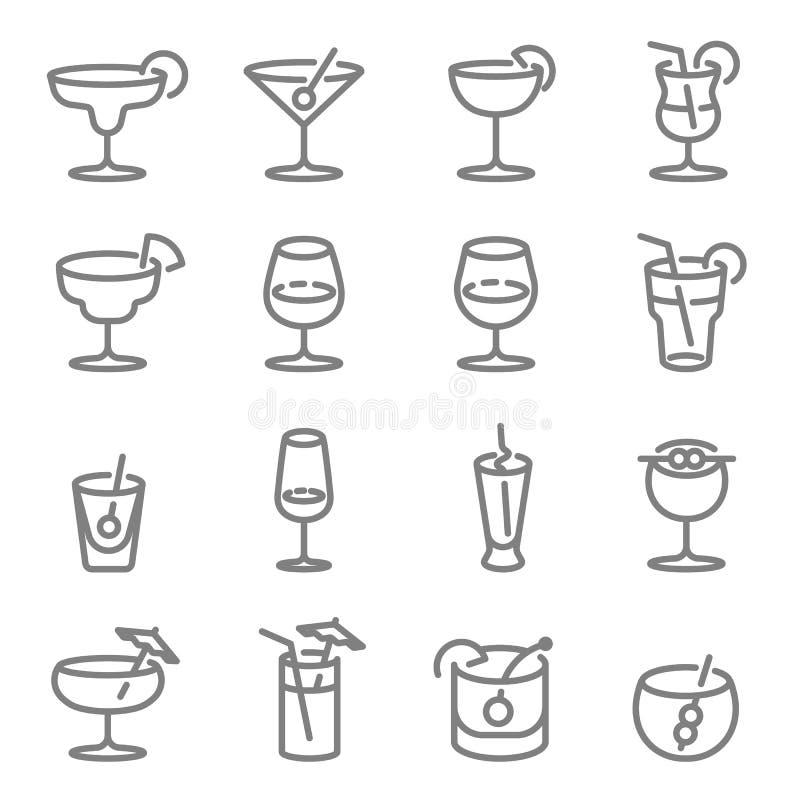 Ligne icônes de vecteur de cocktail Contient des icônes telles que le vin, Mojito, Champagne, whiskey et plus Course augmentée illustration libre de droits